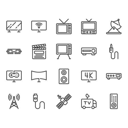 Television related icon set. Vector illustration Zdjęcie Seryjne - 130810287