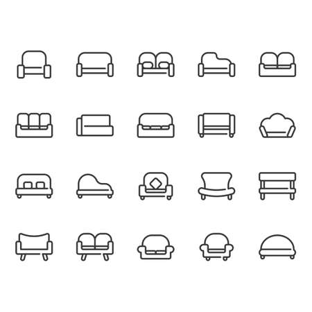 Sofa and seat icon set. Vector illustration