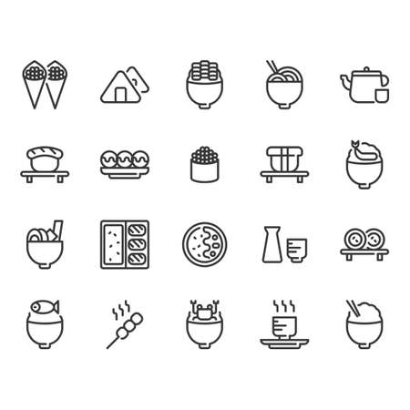 Japanese food icon set. Vector illustration