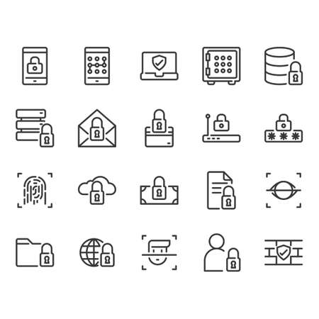 Security and protection related icon set Illustration