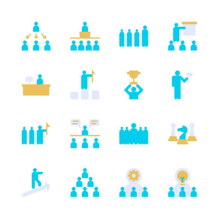 Business leadership icon set. Vector illustration Stock Illustratie