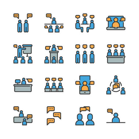 Business and people with speech bubble icon set. Vector illustration