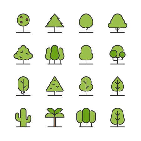 Tree icon set. Vector illustration