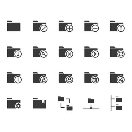 Folder related icon set. Vector illustration