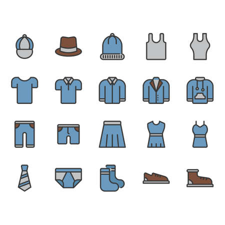 Clothes and accessories related icon set. Vector illustration Stock Illustratie
