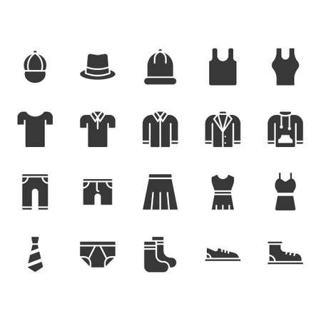 Clothes and accessories related icon set. Vector illustration Ilustração