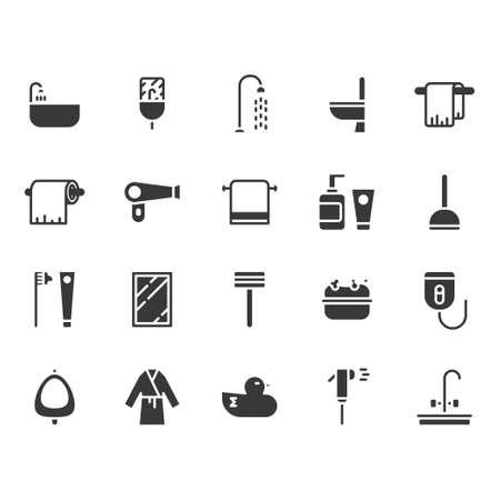 Bathroom related icon set. Vector illustration