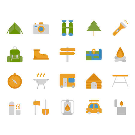 Camping and travel related icon set Stock Illustratie