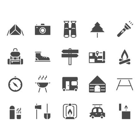 Camping and travel related icon set Stockfoto - 129680421