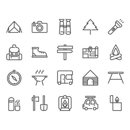Camping and travel related icon set Stockfoto - 129680423