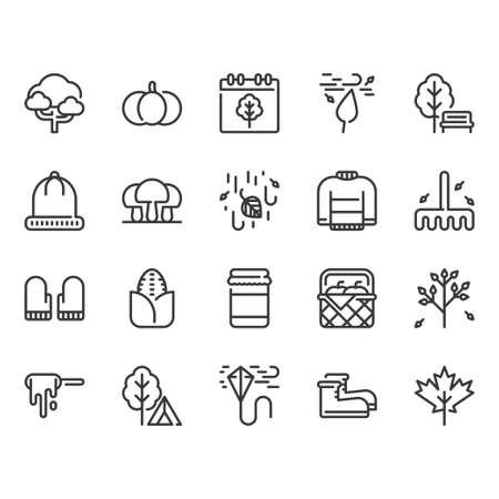 Autumn icon set.Vector illustration