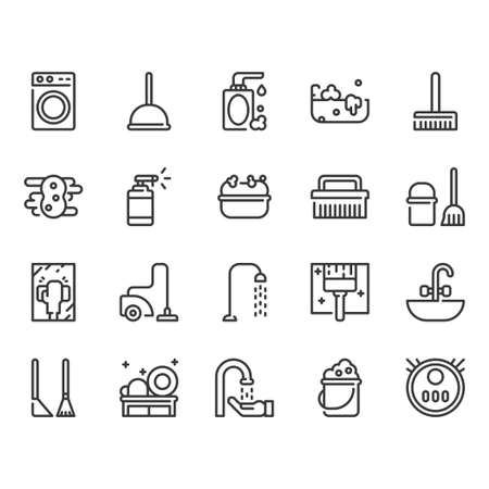 Cleaning icon set.Vector illustration