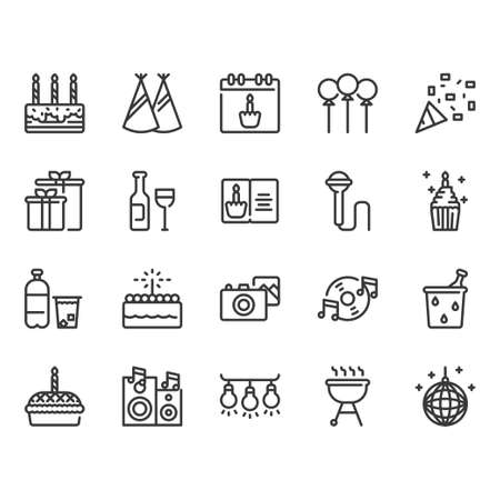 Birthday and Party icon set.Vector illustration