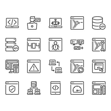 Programming icon set.Vector illustration Ilustração
