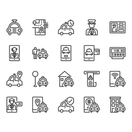 Taxi Service icon set.Vector illustration Ilustração