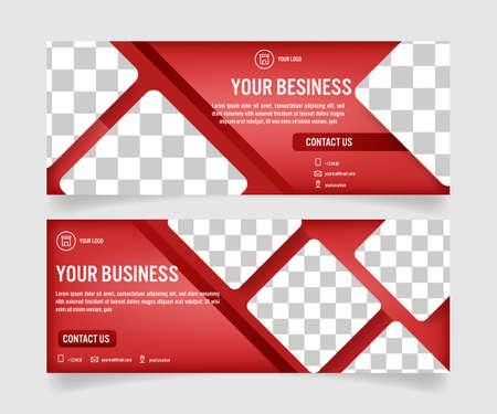 Business social media banner template Ilustração