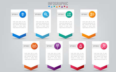 Business infographic labels template with 8 options.Creative concept for infographic