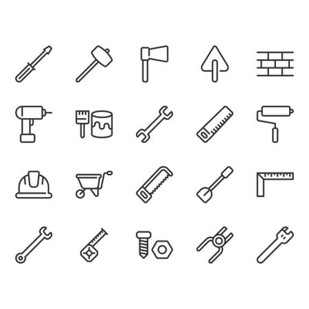 Construction tools related icon set.Vector illustration