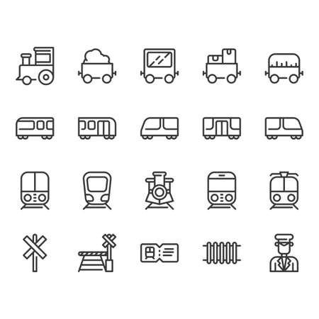 Train stations related icon set