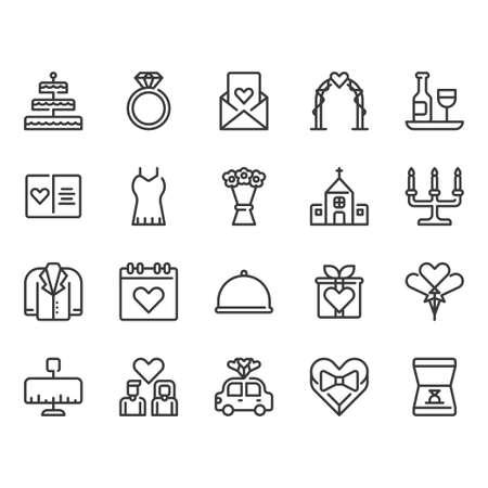 Wedding related icon set Ilustração