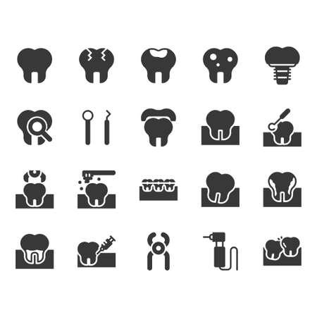 Dental icon set.Vector illustration Ilustração