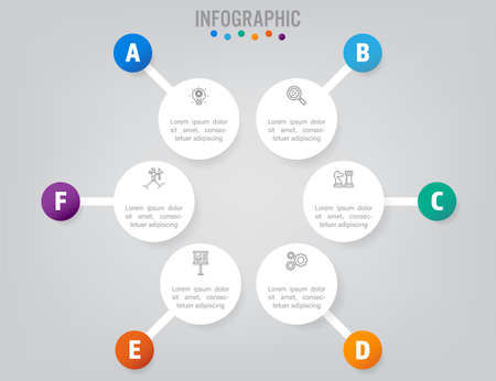 Business infographic labels template with option
