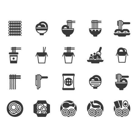 Noodle icon set.Vector illustration