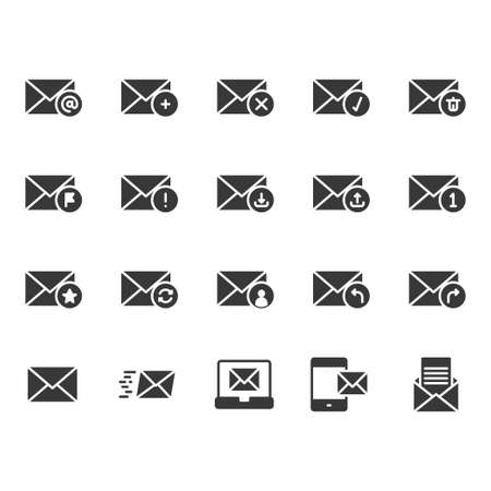 Email in glyph icon set