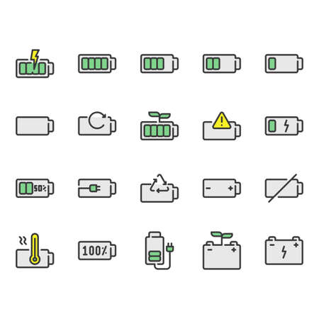 Battery icon set.Vector illustration  Ilustração