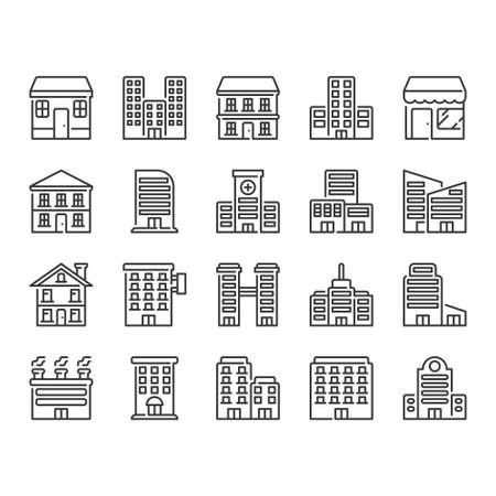 Building icon set Ilustração