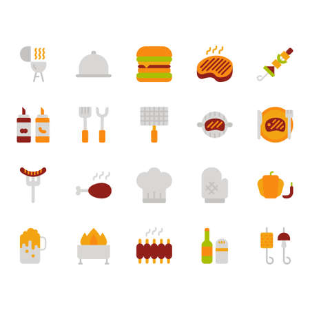Barbecue related icon set.Vector illustration