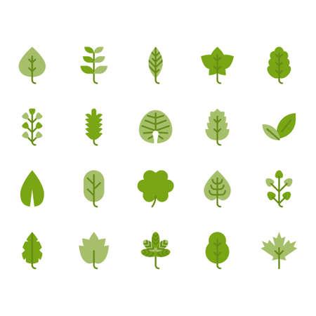 Leaves icon set.Vector illustration Ilustração