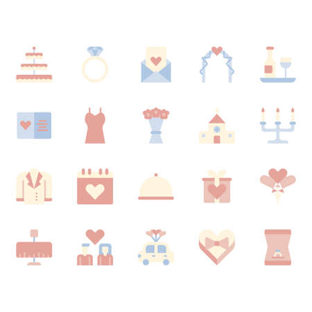 Love and wedding related icon set