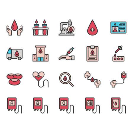 Blood donation icon set