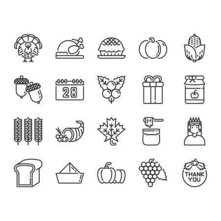 Thanksgiving icon and symbol set Ilustracja