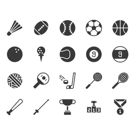 Sport ball equipment icon and symbol set