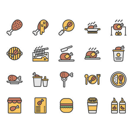 Chicken cooking and food related icon and symbol set Ilustração Vetorial
