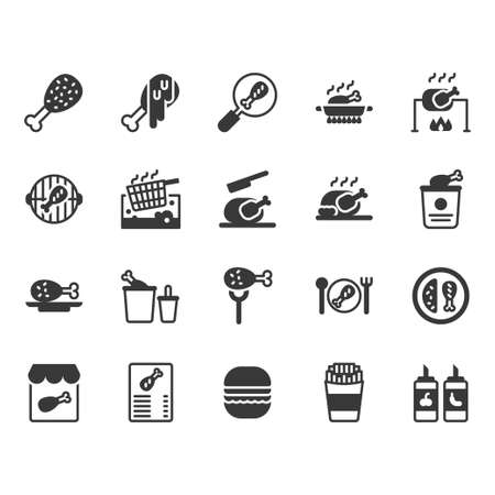 Chicken cooking and food related icon and symbol set
