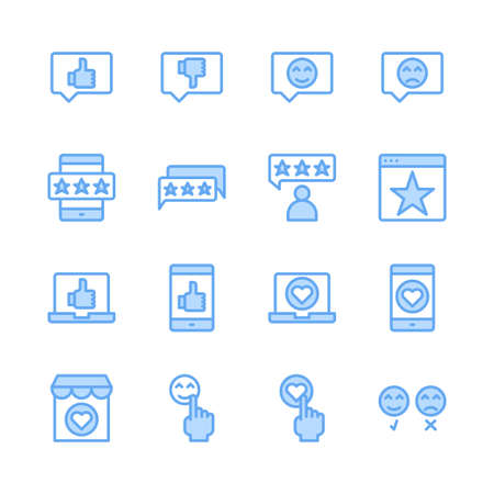 Feedback and customer review related icon set