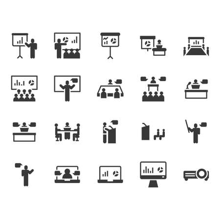 Presentation and meeting related icon and symbol set