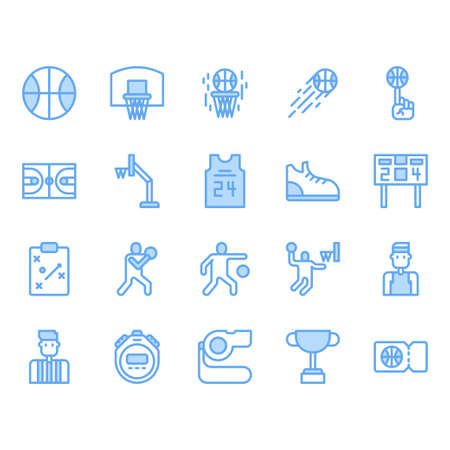 Basketball equipments and activities icon set Illustration