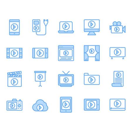 Video content icon and symbol set Illustration