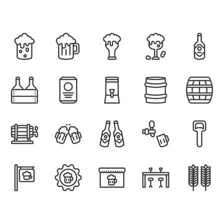 Beer and alcohol related icon and symbol set Vectores