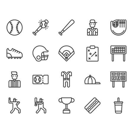 Baseball equipments and activities icon and symbol set Vektoros illusztráció