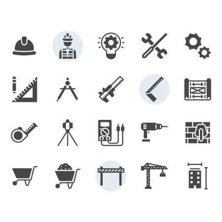 Conjunto de iconos y símbolos de ingeniería en diseño de glifos