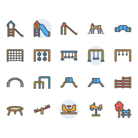 Playground icon and symbol set in  color outline design