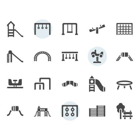 Playground icon and symbol set in glyph design Illustration