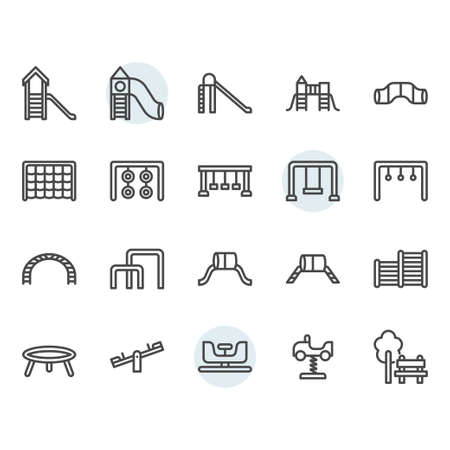 Playground icon and symbol set in outline design Stock Vector - 136352941
