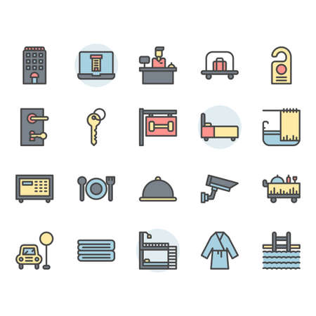 Hotel service icon and symbol set in color outline design Stock Vector - 136716968