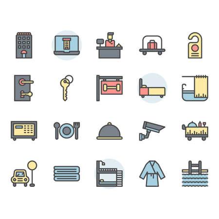 Hotel service icon and symbol set in color outline design